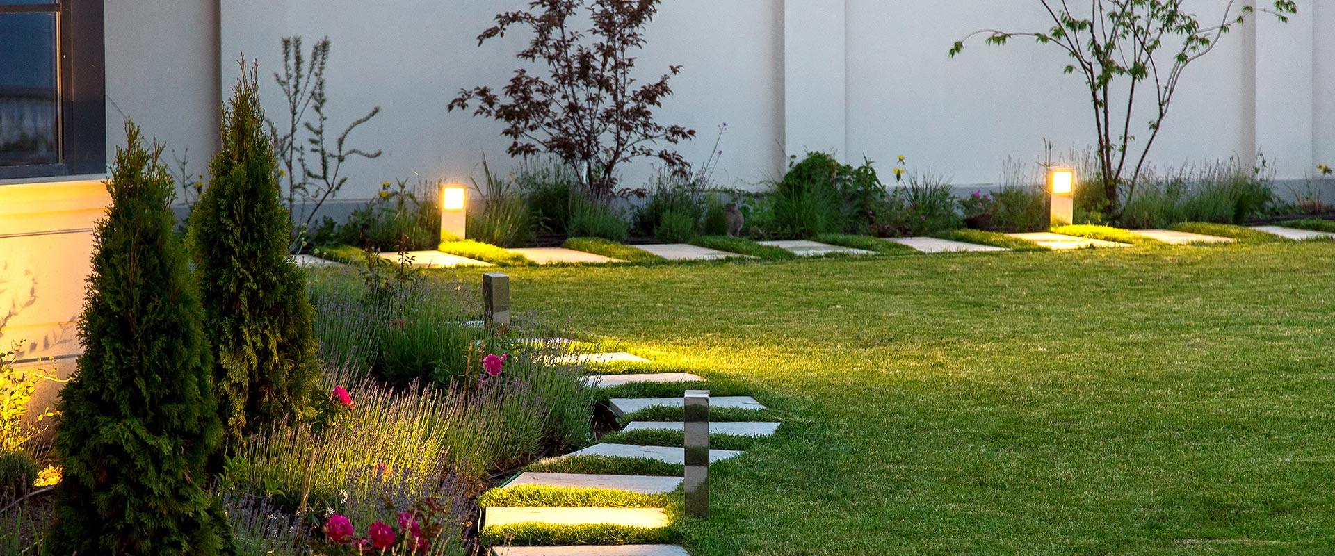 garden with landscape lighting