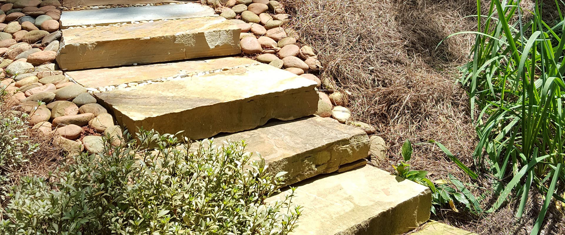 slab steps in a garden
