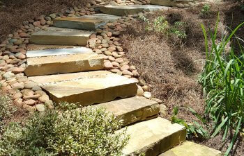 garden slab steps and hardscapes