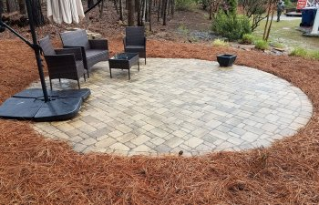paver patio with garden furniture